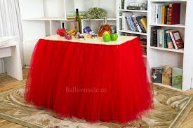 premium red tulle fabric table skirt for party table decor 1 yard x 31 inch