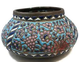 Image result for middle eastern antique enamel on copper bowl with foot