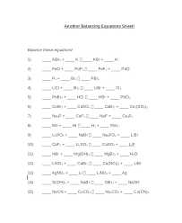 balancing chemical equations worksheet example chemistry