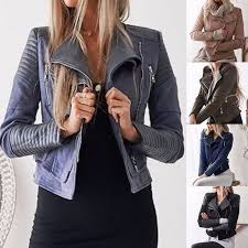 details about retro women s zip lapel jacket long sleeve biker motorcycle slim top coat punk