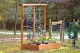 how to build a raised bed and trellis