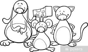 Fotobehang Schattige Huisdieren Cartoon Kleurplaat Pixers We