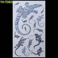 Shnapign черные крылья ящерица временные татуировки боди арт флэш