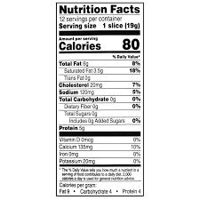 Walmart Deli Nutrition Chart Great Value Deli Style Sliced Mild Cheddar Cheese 12 Count