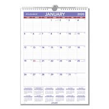 17 Month Calendar Monthly Wall Calendar With Ruled Daily Blocks 12 X 17 White 2020