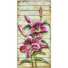 tiger lilies on a wooden frame metal
