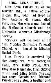 Mrs. Lena Purvis; Deaths - Newspapers.com