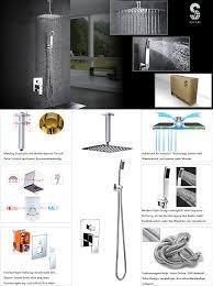 Unterputz Duschsystem Luxus Duschset Mit Decke Installieren Regendusche Kopfbrause Handbrause Poliert Chrom Srss C1003
