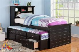 twin bed with storage and bookcase headboard. Delighful Headboard Black Twin Bed With Bookcase Headboard And Trundle Storage Item  F9219 For With And T