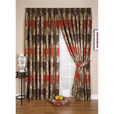 whiteheads lucille red fl pencil pleat readymade curtain