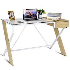 Wood desk with glass top Glass Dining Table Tangkula Glass Top Computer Desk Home Office Desk Study Writing Desk Table With Storage Amazoncom Amazoncom Tangkula Glass Top Computer Desk Home Office Desk Study