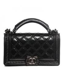 Chanel Pre-Owned - Chanel Black Goatskin Quilted Medium Boy Top ... & Chanel Pre-Owned - Chanel Black Goatskin Quilted Medium Boy Top Handle Flap  Bag Adamdwight.com