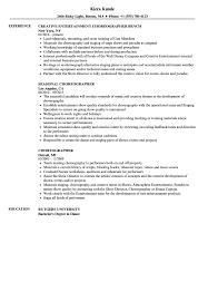 Choreographer Resume Choreographer Resume Samples Velvet Jobs 1