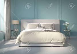 Klassisches Blaues Schlafzimmer Mit Weißem Boden Lizenzfreie Fotos