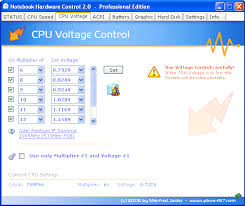 notebook hardware control nhc main features  cpu voltage control you can change the default cpu voltages to reduce heat dissipation power consumption and prolong the battery lifetime