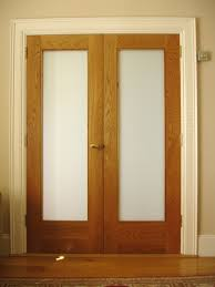 pair of white oak picture frame doors p frosted glass to centre panel