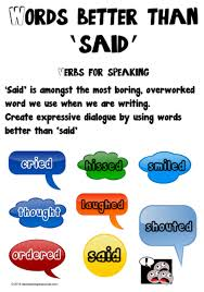 Verbs For Speaking Words Better Than Said Chart 2