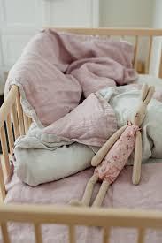 linen baby bedding set peppermint light purple duvet cover