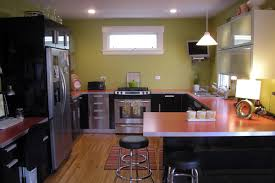 red laminate countertop in kitchen