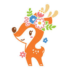 Free Cute <b>Deer</b> With <b>Flowers</b> Graphic Vector - Stock by Pixlr
