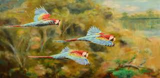 vladimir yaskin artwork flight over the rainforest original painting oil birds art