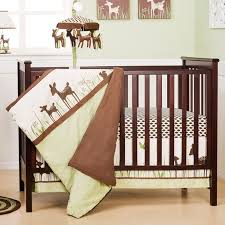 image of simple fawn crib bedding