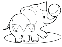 Preschool Elephant Coloring Page For Kids Free Animal Pages