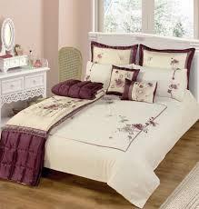 simple bedroom with purple beige fl print duvet covers ikea white wooden headboard king size