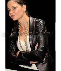 katie holmes celebrity leather jacket for women