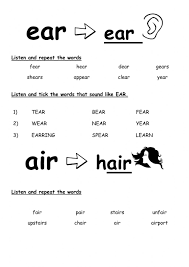 Worksheet for (very) young learners who have just started reading. Ear Air Phonics Worksheet