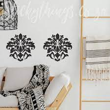 large l and stick damask wall decal