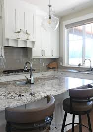 kylie m interiors edesign cloud white kitchen cabinets granite countertop glass subway tile