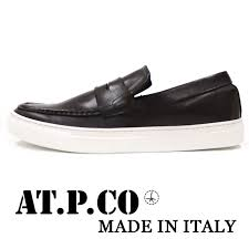 the shoes collection that at p co アティピコ presents in italy the loafer slip ons sneakers which there is sporty elegance