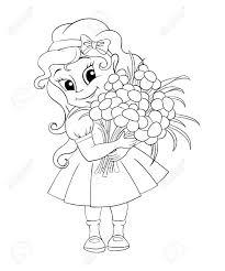 花束とかわいい女の子黒と白のベクトル イラスト塗り絵