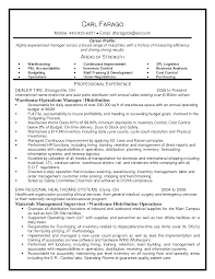 Operation Manager Sample Resume Warehouse Operations Best Template