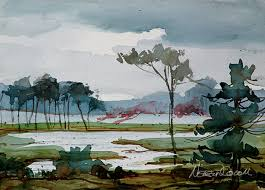 watercolor painting of landscape for beginner