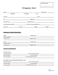 Emergancy Contact Sheet Employee Emergency Contact Form Pdf