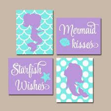 mermaid wall art canvas or prints mermaid bathroom sister bat