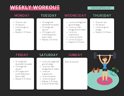 Dark Illustrated Weekly Workout Schedule Template