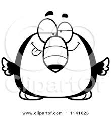 Small Picture Cartoon Clipart Of A Black And White Dumb Toucan Bird Vector