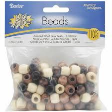 Darice Jewelry Designer Beads Darice Wood Pony Beads 11mmx12mm 110 Per Package Earth Tones
