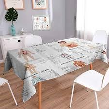 Rectangle Tablecloth Chart Amazon Com Vanfan Rectangle Tablecloth Complete Chart Of
