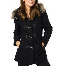 alpine swiss duffy women s hooded parka fur trim wool coat toggle on jacket 1