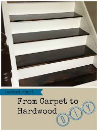 from carpet to hardwood stairs dark treads and white risers