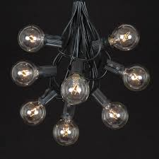 25 g40 globe string light set with clear bulbs on black wire