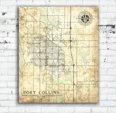 art fort collins co canvas print colorado vintage map fort il fullxfull vintage maps