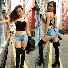 Hot asian chick leather