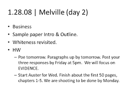 melville day business sample paper intro outline whiteness 1 28 08 melville day 2 business sample paper intro outline