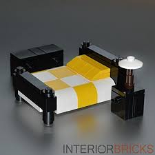 bricks furniture. lego furniture checkered bed yellow u0026 white interior bricks httpwww g