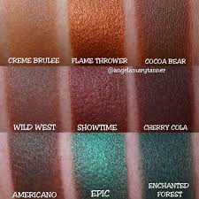 makeup geek holiday eyeshadow bundle swatches by angelamarytanner featuring creme brulee flame thrower
